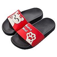 QZBAOSHU Family Slippers for Women/Men/Boys/Girls Summer Cute Cat Slides Sandals on Beach Bathroom Swimming Pool 8 UK (Label Size 42) red(Summer Style)
