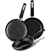 BRA - Set de 3 sartenes de aluminio forjado con antiadherente, 18-20-24 cm, aptas para todo tipo de cocinas incluida inducción