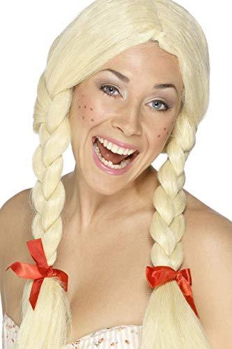 Smiffys Schulmädchen / Holländerin Perücke Blond geflochtene Zöpfe mit Bändern, One Size