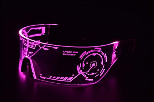 Cyberpunk Sonnenbrille mit LED-Beleuchtung, perfekt für Cosplay und Festivals, Cybergoth rose