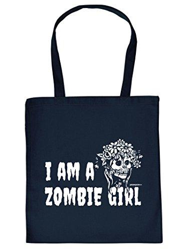 Baumwolltasche : Halloween / I am a Zombie Girl -- Goodman Design -- Tasche für Süßigkeiten Farbe: navy-blau (Zombie Kid Kostüme)