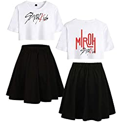 KPOP Stray Kids Conjunto de Dos Piezas Casual Tops + Falda Chándales Activos Expuestos Navel kirts Conjunto Sexy Summer T Shirt Bangchan Chanbin Felx Hyunjin Jeongin