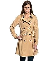VB Damen Trenchcoat, Mantel mit Paspelierung in Kontrastfarbe, Schulterpatten, ausgestelltem Saum