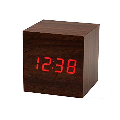 Oksea Holz LED Digital Wecker LED Wecker Wiederaufladbar Holz Tischuhr Klein Cube Datum Temperatur Anzeige Digital Wecker Dunkelbraun (Braun)