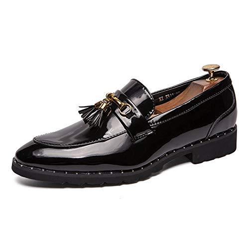 Jingkeke Herren Classic Tassel Work Business Oxfords for Herren Slip-on Brautkleid Loafers Schuhe Synthetic Patent Leather Lug Sole Ins Auge fallend Mode (Farbe : Schwarz, Größe : 38 EU) -