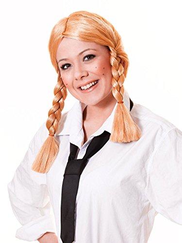 Erwachsenen Kostüm Schulmädchen Cheerleader-Perücke, mit Zöpfen, blond Zubehör geflochtenene Zöpfen in ()