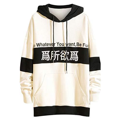 Xmiral Kapuzenpullover Sweatshirt Herren Gedruckte Patchwork Mode Tops mit Kapuze Lange Ärmel Pullover Outdoor Sportbekleidung(b Weiß,L)