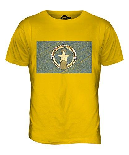 CandyMix Nördliche Marianen Kritzelte Flagge Herren T Shirt Dunkelgelb