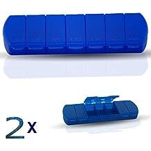 2er Set Tablettenbox, Pillendose für 7 Tage, kompakte Medikamentenbox für zu Hause und Unterwegs, mit Beschriftung MO-SO