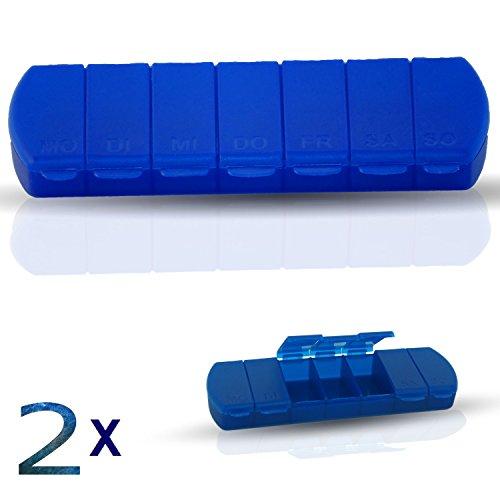 dailypills Tablettenbox, Pillendose für 7 oder 14 Tage im 2er Set