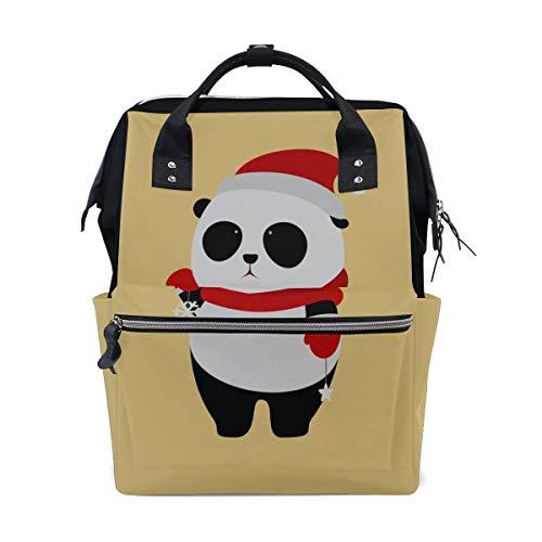 Black Santa Claus Hut (Riesige süße Panda Wear Hut große Kapazität Wickeltaschen Mama Rucksack Multi Funktionen Windel Pflege Tasche Tote Handtasche für Kinder Babypflege Reisen täglich Frauen)