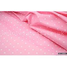 Pequeño blanco lunares en rosa 100% algodón tela por metro ancho de 1,6M