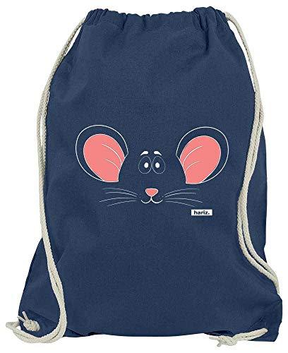 Einfach Gesicht Reißverschluss Kostüm - HARIZ Turnbeutel Maus Gesicht Tiere Kindergarten Plus Geschenkkarte Navy Blau One Size