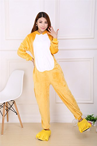 WTUS Pigiama Unisex Adulto Cosplay Halloween Costume Animale Pikachu Pigiama Inverno Tuta Animali Arancione
