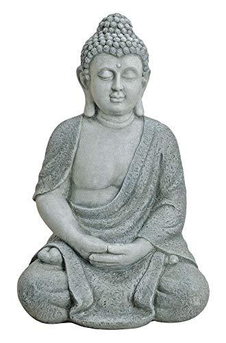 Worldconnection XXL Großer Buddha 62 cm Steinfigur Garten Deko Figur Skulptur Feng Shui sitzend