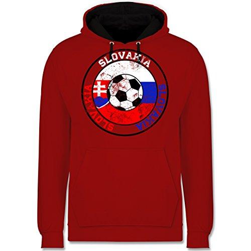 Fußball - Slovakia Kreis & Fußball Vintage - Kontrast Hoodie Rot/Schwarz