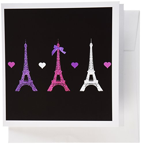 3drose Grußkarten, Girly Eiffelturm, Hot Pink Violett Schwarz Paris Towers Love Hearts STILVOLL French Modern Frankreich, Set 6 (GC 113151 _ 1) - Einladungen Hot Geburtstag Pink