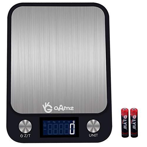 GOAMZ Digitale Küchenwaage 10kg/1g Briefwaage, Digitalwaage Professionelle Waage - Electronische Waage aus Edelstahl und wasserdichter mit 7 Wiegeeinheiten, LCD Display, Auto-Off (Batterien enthalten)