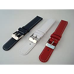 Watch Strap / Band - Leather - Blue, Red Or White