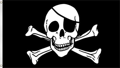 normani XXL Flagge Fahne, genäht in 150 x 250 oder 300 x 500 cm Farbe Pirat mit Knochen Größe 150x250