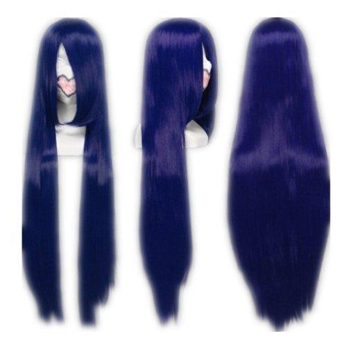 COSPLAZA Cosplay Wig Kostueme Peruecke Naruto Shippuden Hinata Hyuga Lang Dunkelblau Synthetische Haare