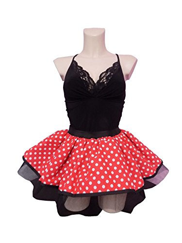 Image of Minnie Mouse Red White Small Polka Dot Tutu Skirt with Black Netting