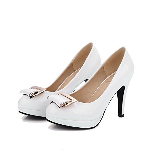 AllhqFashion Femme Tire Rond Pu Cuir Mosaïque Chaussures Légeres Blanc