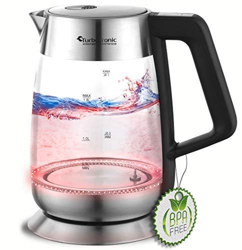 2200W LED Glas Wasserkocher mit Temperaturwahl 60°C 70°C 80°C 90°C 100°C einstellbar 1,8 Liter Warmhaltefunktion BPA-FREE