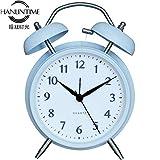 Retro Alarm Clock Non-ticking Silent Quartz Analog Twin Bell Alarm,Blue 11.7 * 5.8 * 16 cm
