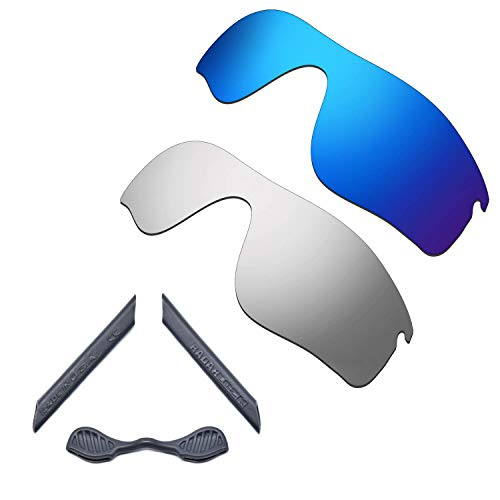 HKUCO For Oakley Radarlock Path Blue/Silver Polarized Replacement Lenses And Grey Earsocks Rubber Kit