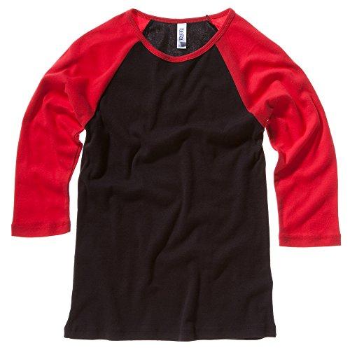 Bella bébé de toile Rib manches 3/4 T-shirt Contraste Raglan Noir/rouge