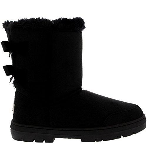 Damen Schuhe Twin Schleife Fell Schnee Regen Stiefel Winter Fur Boots - Schwarz - 42 - AEA0234 (Schnee Mit Fell Frauen Stiefel Für)