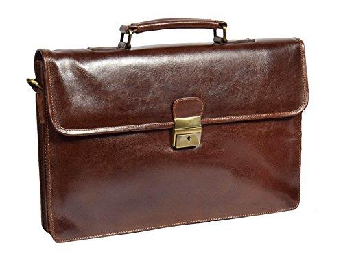 Schlank Echtes Leder Aktenkoffer Schulter Kreuz Körper Organizer Exekutive Geschäft Tasche Lucca Braun (Bag Klappe Über Attache)