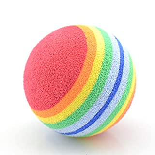 ASTrade Rainbow Play Ball, TheBigThumb 1pcs Interactive Play Toy Soft EVA Foam Colorful Kitten Activity Chase Toys Golf Practice Balls for Cats Dogs Puppy
