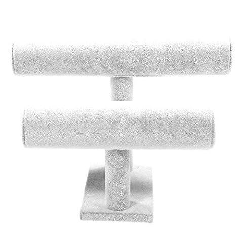 Schmuckständer für Armbänder, Uhren, Haargummis (2Armbandhalter) Samt–Hellgrau 25x 19cm