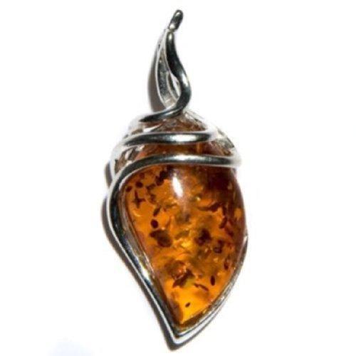 Noda - Colgante con forma de gota de ámbar báltico color miel y plata de ley