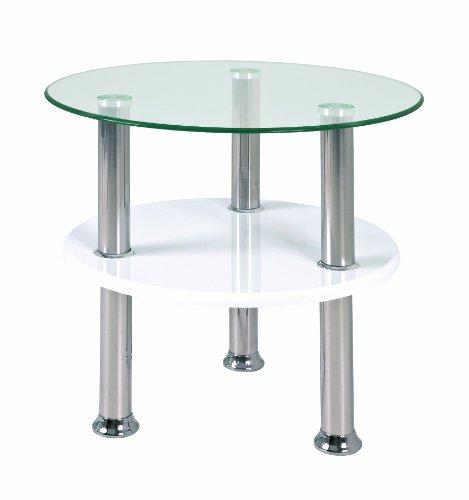 Haku Möbel 33316 Table Basse d'Appoint Verre Trempé Optique Inox/Blanc