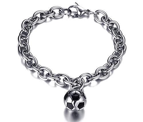 Fußball Braun Perlen Halskette - XIAOHA Herrenarmband Herren Kette Armband Kleine