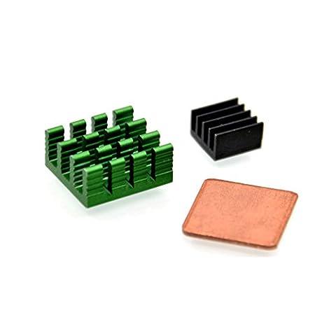 Geeekpi 1Lot de 3pcs Aluminium et cuivre Dissipateur de chaleur Dissipateur thermique kit de refroidissement pour Raspberry Pi 3/2Modèle B/B