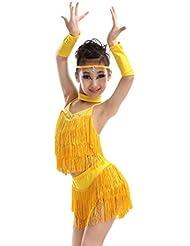 Faldas de los niños latinos y ropa de vestir concurso de baile latino párrafo flecos y concurso de disfraces para niñas de color amarillo / rojo / verde / púrpura , yellow , 150cm