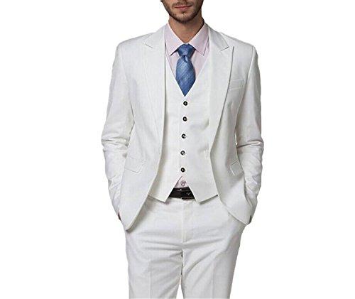 219975df6da155 Lilis® Herren Sommer Weiß Hochzeit Anzüge 3 Stück Bräutigam Smoking Herren  Anzug
