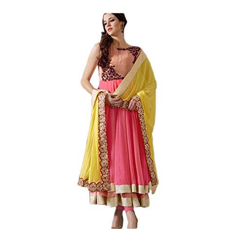 Ethnic Empire Cream & Pink COLOR LATEST INDIAN DESIGNER ANARKALI SALWAR KAMEEZ DRESS for women & girls Free Size