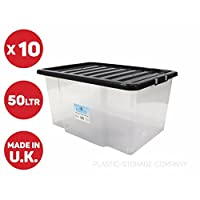 VSL 10 x 50 Litre Plastic Storage Box - Quality Container with Black Lid - Stackable
