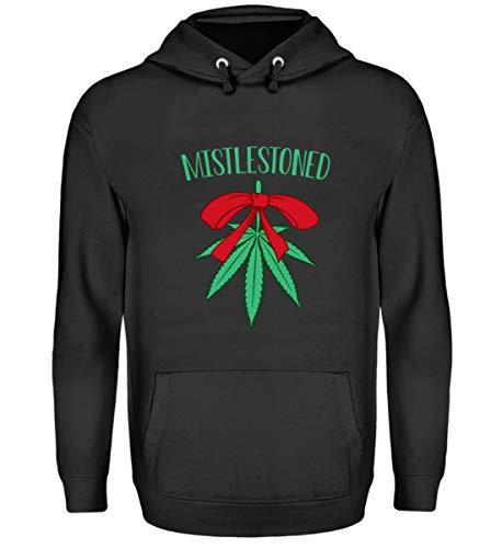 EBENBLATT Divertente Canapa Cannabis Natale 2018 Erba Marihuana Albero di Natale Regalo Idea Regalo - Unisex Felpa con Cappuccio Jet Schwarz XXL