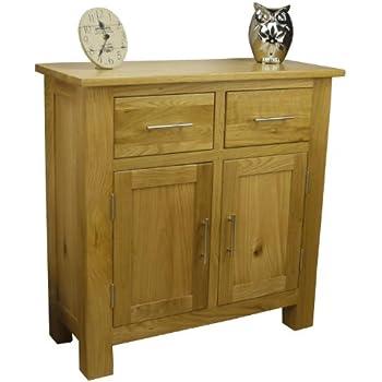 Oakland Solid Chunky Oak   Mini Sideboard / Small 2 Door 2 Drawer Storage  Dresser Cupboard Cabinet Unit