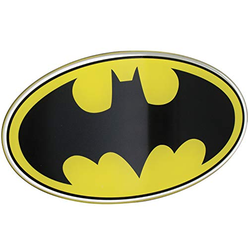 Fan Emblems Batman Logo Auto Aufkleber gewölbt/schwarz / gelb/Chrom-Finish, DC Comics Automotive Emblem Aufkleber Gilt leicht für Autos, LKWs, Motorräder, Laptops, Handys, Windows, Fast Alles