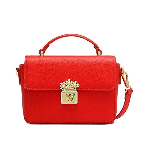 Little Girls Candy couleur Pu cuir petit sac à bandoulière carré / sac à main - idéal fête sac remplisseurs pour les filles (21 * 9 * 15.5cm) , black Red