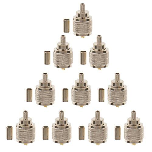 MagiDeal 10x UHF Männlich SL16 Anschluss Stecker Gerade Crimp Für LMR195 RG58 RG142 Kabel - Crimp-anschlüsse