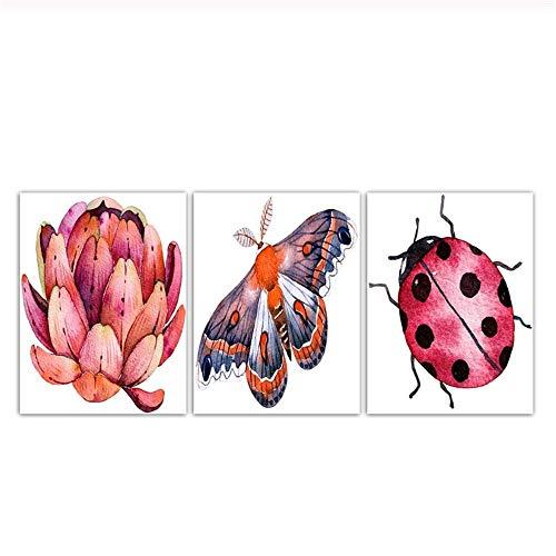 Modern Animal Seven-spot Ladybug And Lotus Canvas