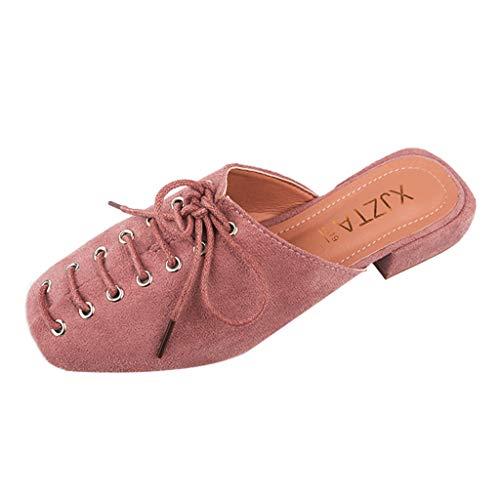 Zegeey Chaussures Femme, Été et Automne Fermeture éclair Tête Carrée Sandales Plates à GlissièRe Polyvalente pour Femmes, Pantoufles Plates Mode Personnalité Pantoufles(B-Rose,EU38)